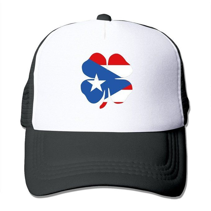 933273f4d6a Lucky Clover Puerto Rico Flag Black Mesh Unisex Adult-one Size Snapback  Trucker Hats