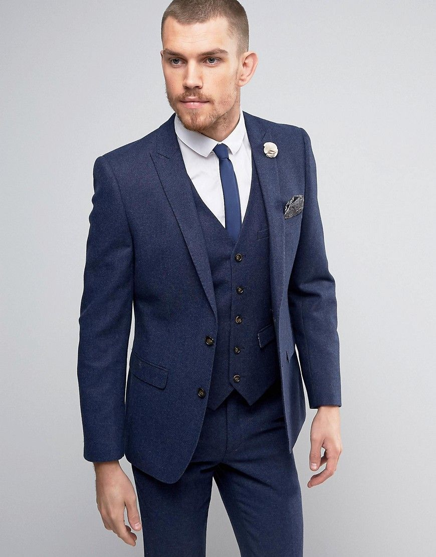 9ca5ffc5a5a2 Get this Harry Brown's suit now! Click for more details. Worldwide  shipping. Harry Brown Donegal Wool Blend Suit Jacket - Navy: Suit jacket by Harry  Brown, ...