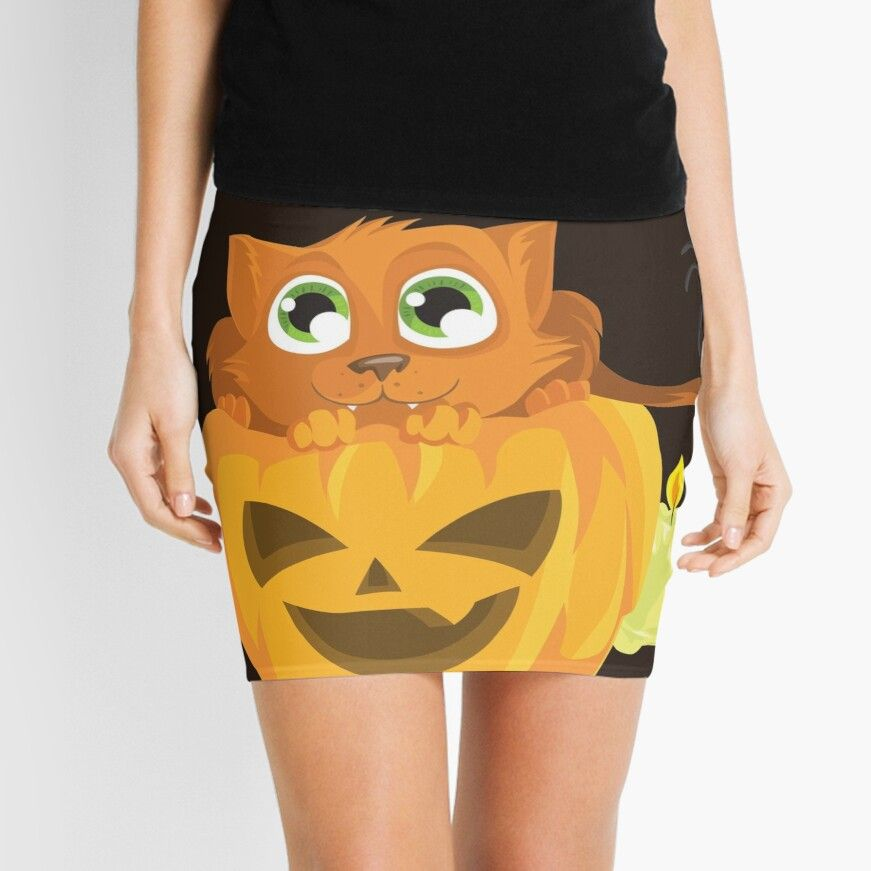 'Ginger Kitten In A Pumpkin' Mini Skirt by Zerasu #gingerkitten