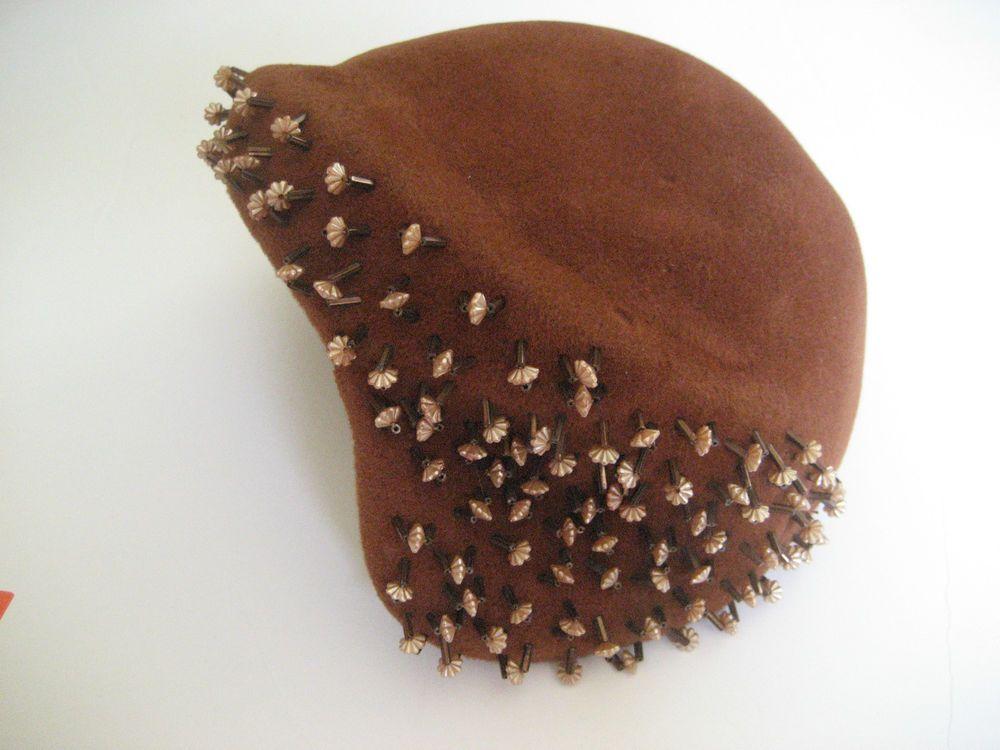 1940s beaded brown velour hat. Merrimac Peachbloom Imported Fur. Size 22.  | eBay