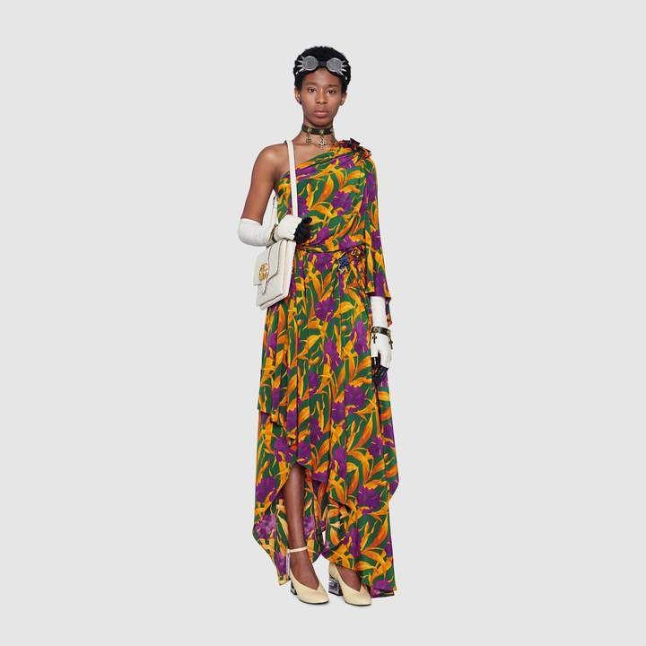 cbfbf16a49 Gucci Silk dress with flowers | Products | Dresses, Long midi dress ...