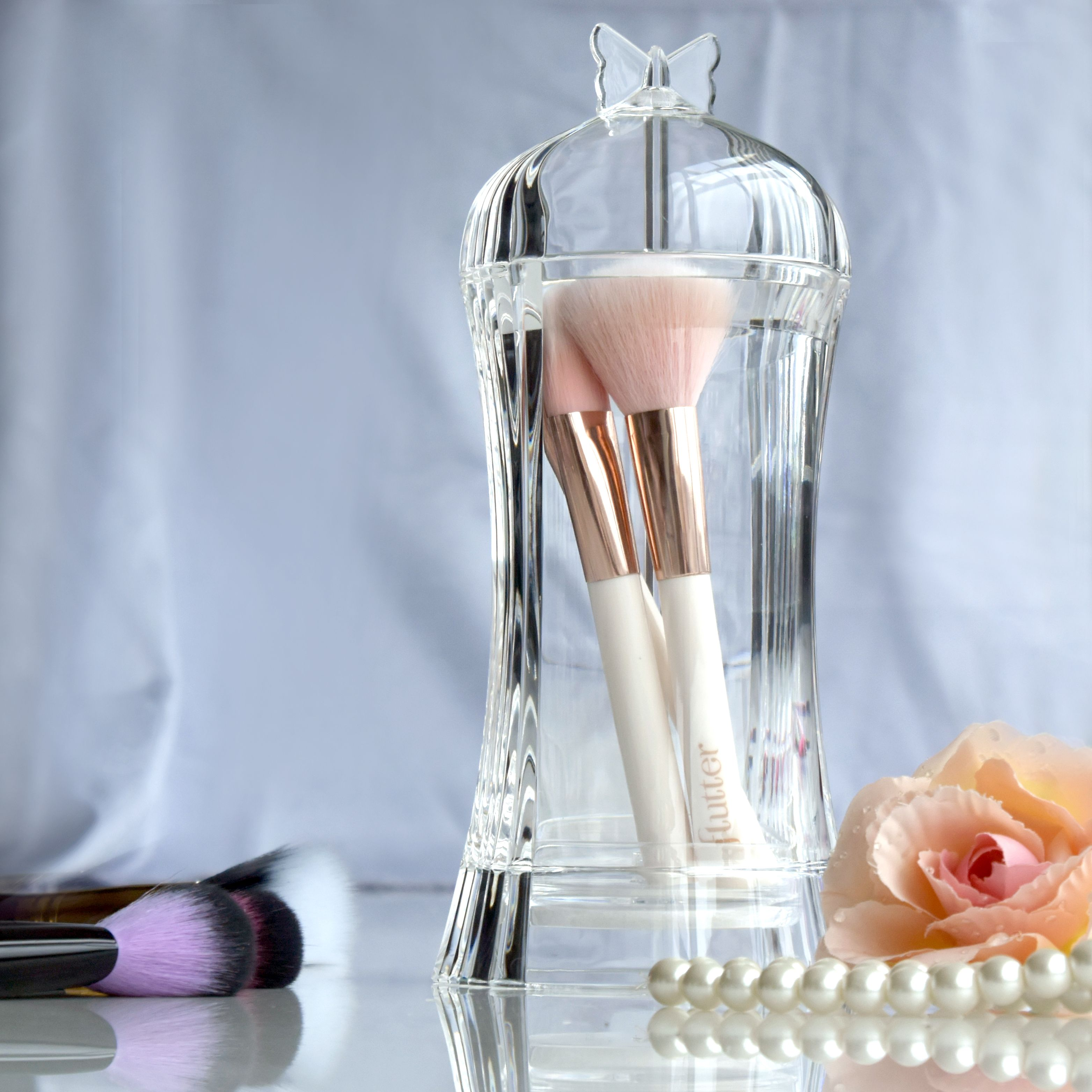 Butterfly Acrylic Makeup Brushes & Brow Pencils Holder w