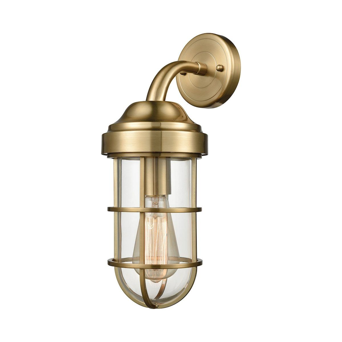 Seaport 1 Light Wall Sconce In Satin Br By Elk Lighting Group