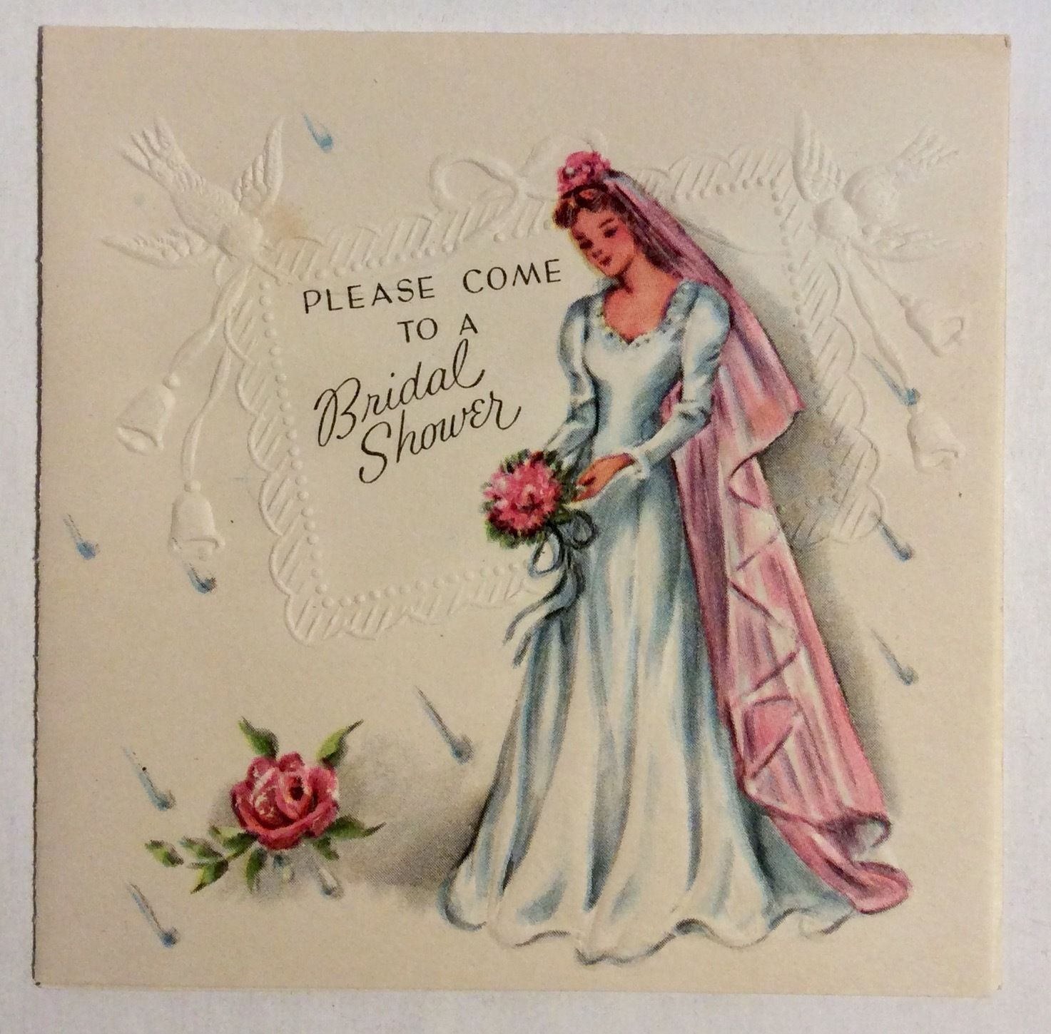 Beautiful Bride Gorgeous Wedding Dress Pink Vale Vintage Greeting Card