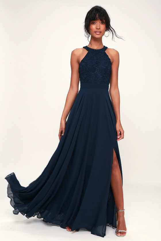 d49d643dbb59 You'll be a vision of pure perfection in the Picture Perfect Navy Blue Lace  Maxi Dress! Crochet lace halter bodice tops a chiffon maxi skirt.