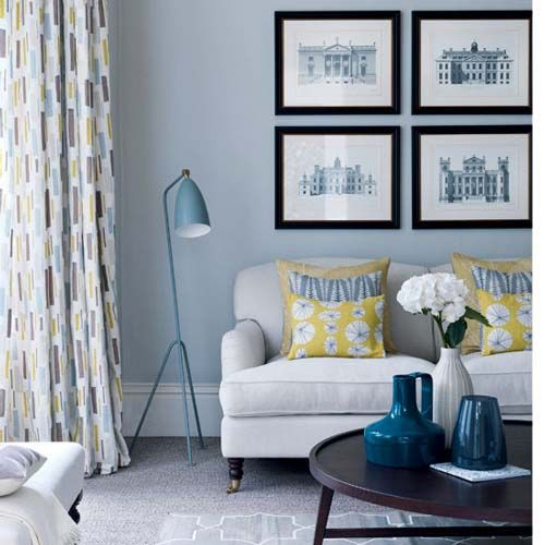 Blue Paint Colors For Living Room wall color and four frames above couch | home | pinterest | cozy