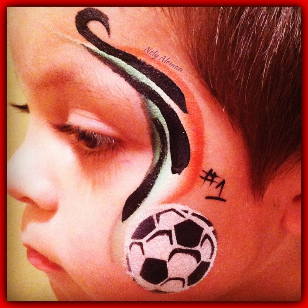 Boy Face Paint Alternate Colors For Their Favorite Soccer Team