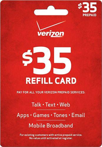 Verizon Wireless Prepaid 35 Top Up Card Red Verizon Wireless Verizon Prepaid Cards