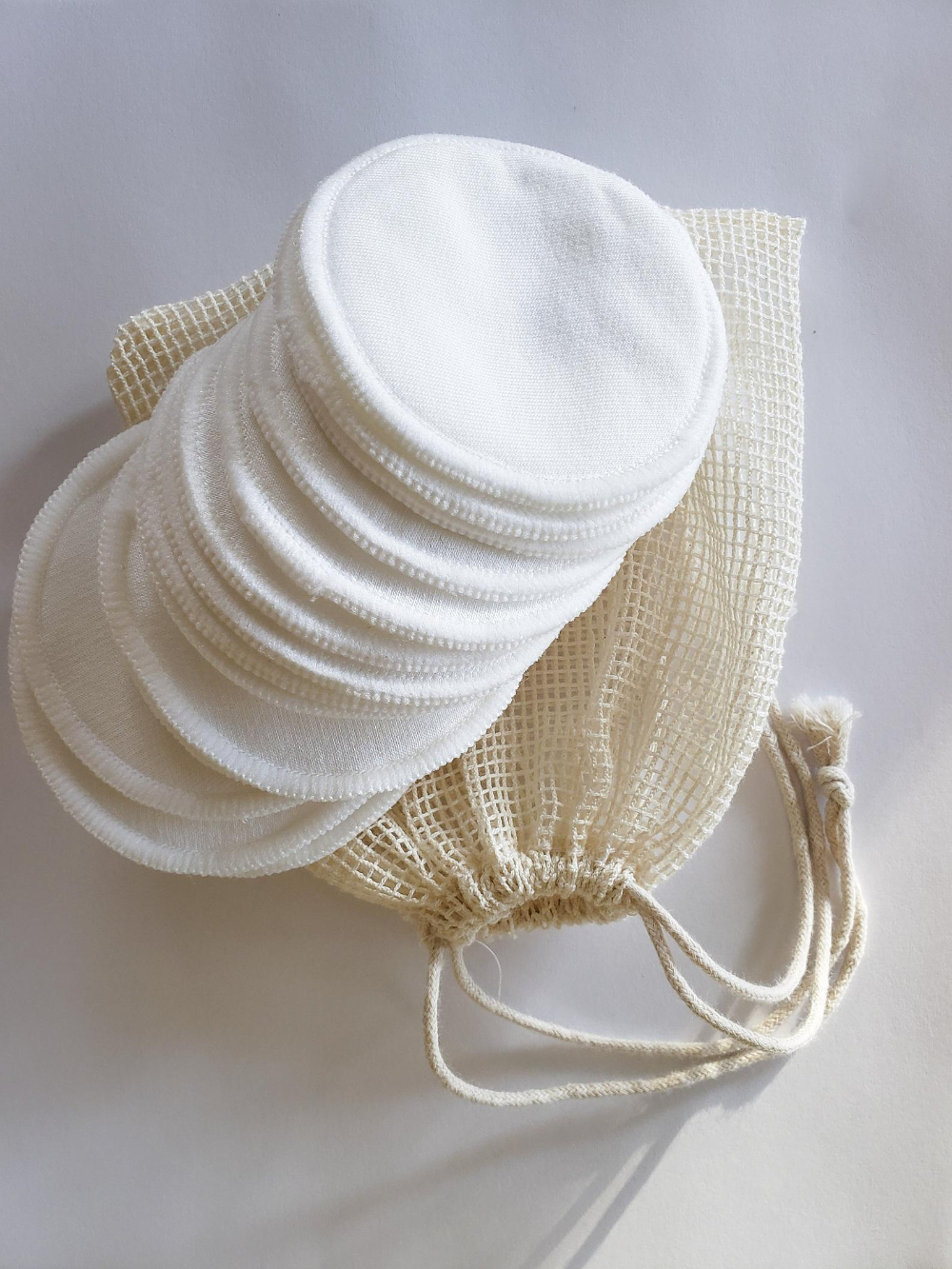 16 Organic Reusable Cotton facial Rounds, Zero Waste