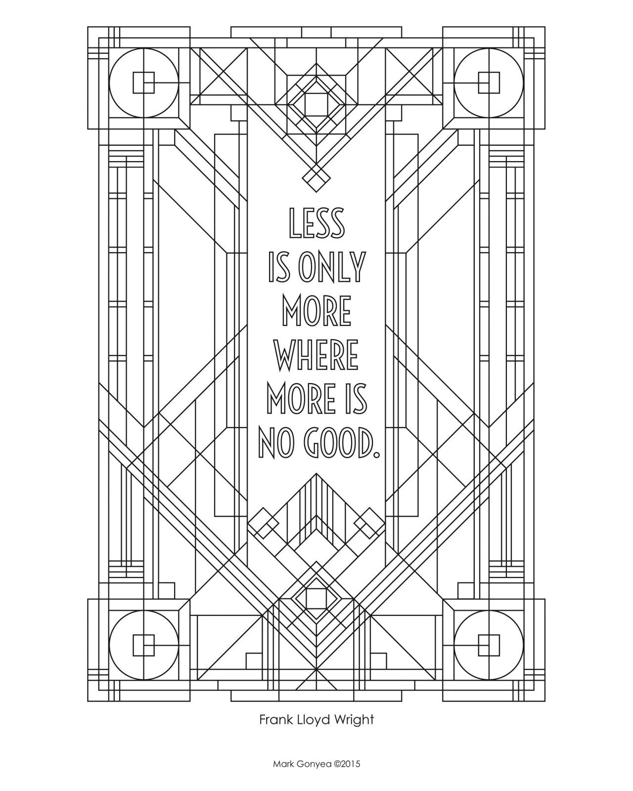 Coloring page inspired by Frank Lloyd Wright quote