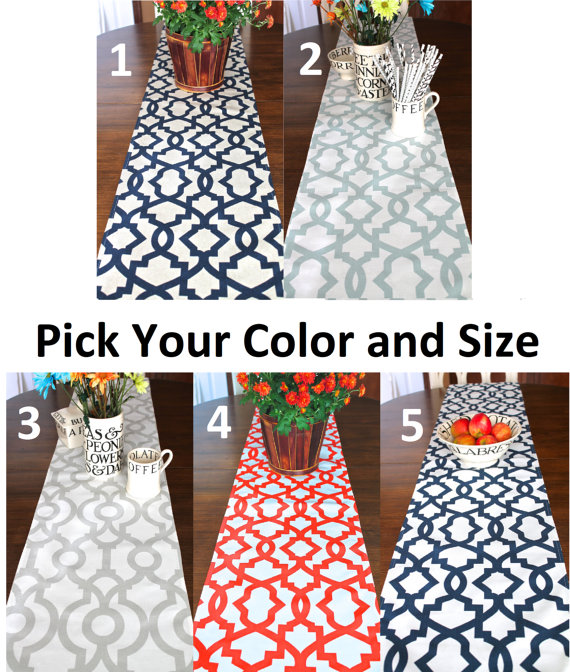 Table Runner Navy Blue Tan Khaki Red Orange White Spa Blue Table