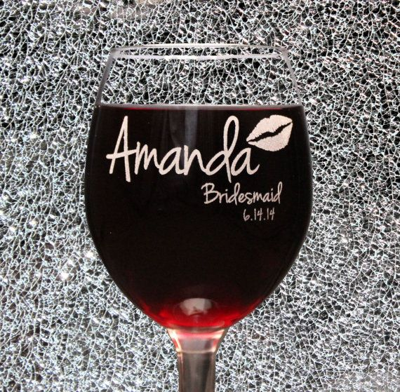personalized bridesmaid wine glasses laser etched bridesmaid gifts the bachelorette party stock the bar bridal shower favor thank you on etsy 1000