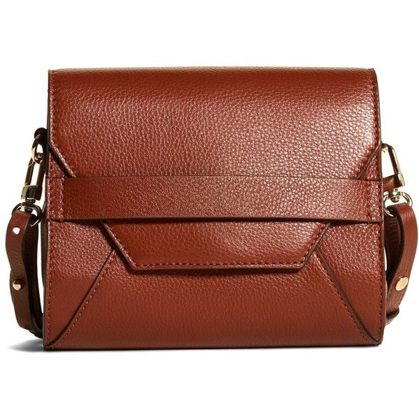 Brooks Brothers Pebble Calfskin Crossbody Bag 198 Liked On Polyvore Featuring Bags Handbags Shoulder Cognac Brown Purse