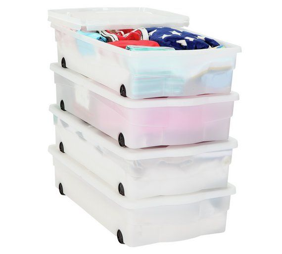 Under The Bed Storage On Wheels Buy Home Set Of 4 Wheeled Plastic Underbed Storage Boxes At Argosco