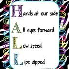 HALL Acronym Behavior Management Poster.   Hands at your side, All eyes forward, Lips zipped, Low speed.