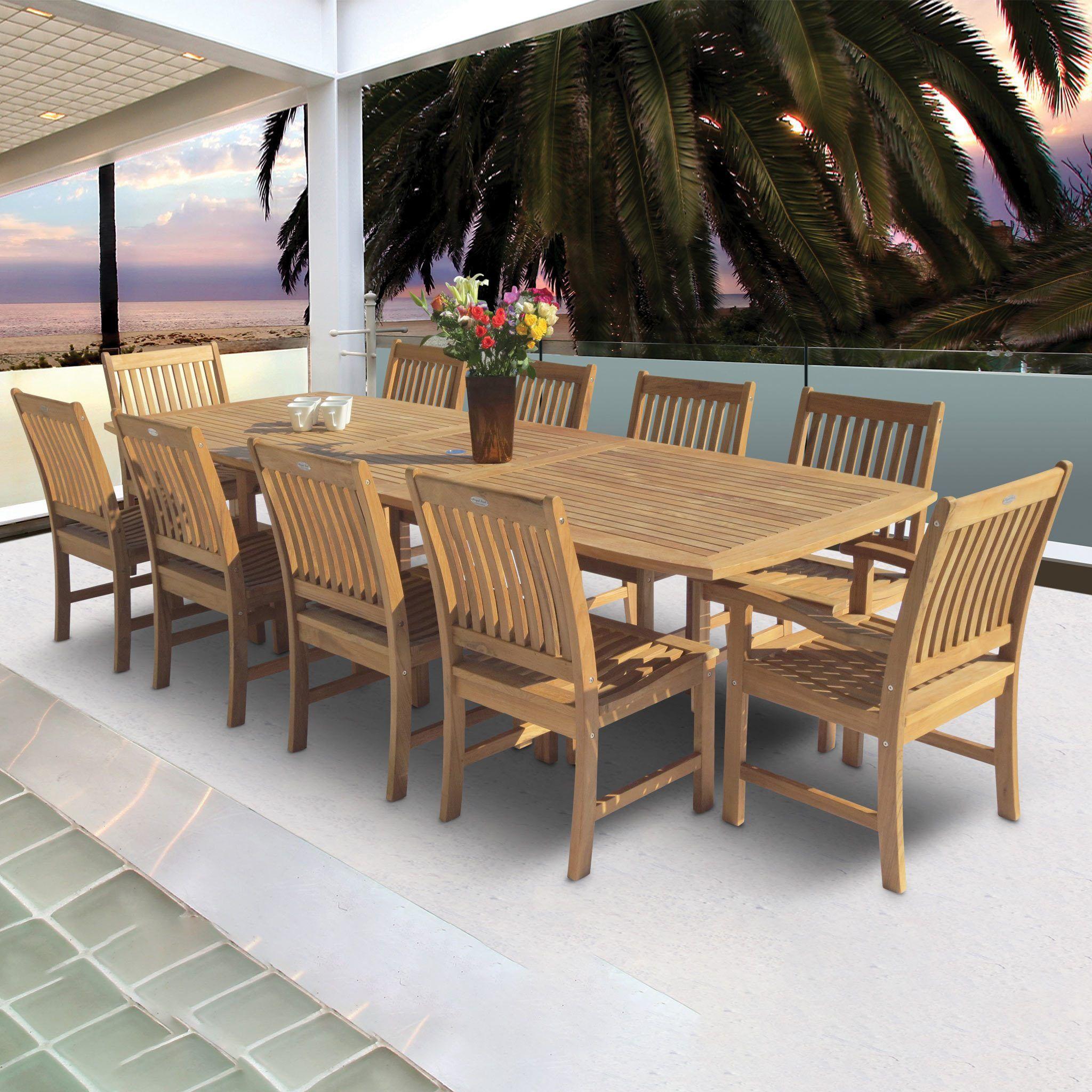 96 120 Rectangular Family Expansion Teak Table Patio Dining Set Patio Patio Decor