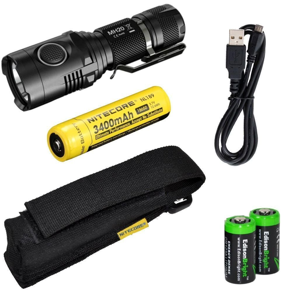 Nitecore MH20 CREE XM-L2 U2 LED 1000 Lumen USB Rechargeable Flashlight, Nitecore NL189 18650 3400mAh rechargeable Li-ion battery, USB charging cable, Holster 2 X EdisonBright Cr123A lithium batteries bundle * Awesome outdoor product. Click the image : Camping stuff