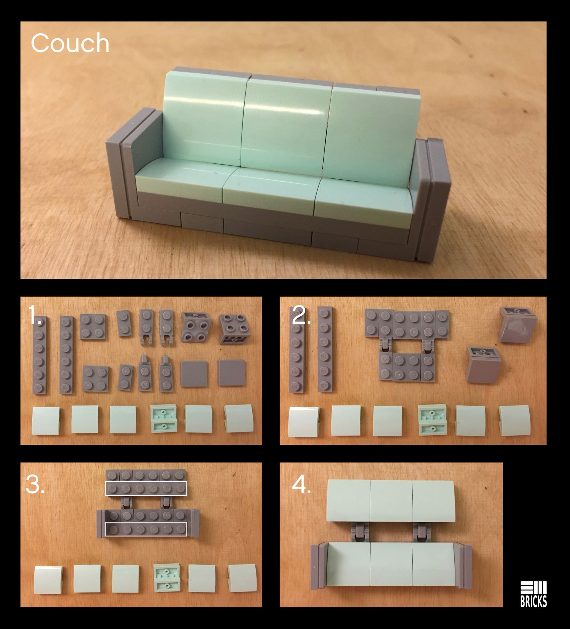 Couch Instructions Lego Design Lego Furniture Lego Room