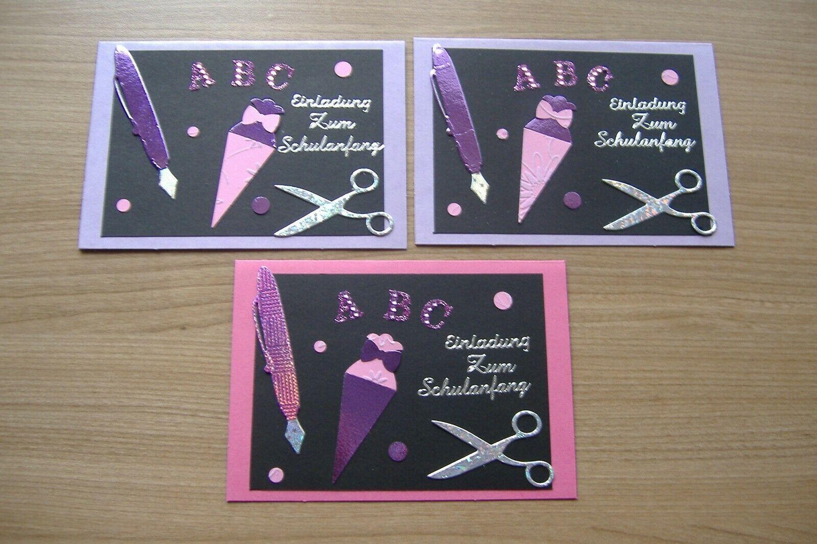 3 einladungskarten zur einschulung tafel flieder/pink