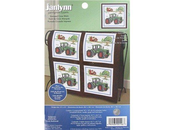 Janlynn Stamped Cross Stitch Quilt Block Tractor