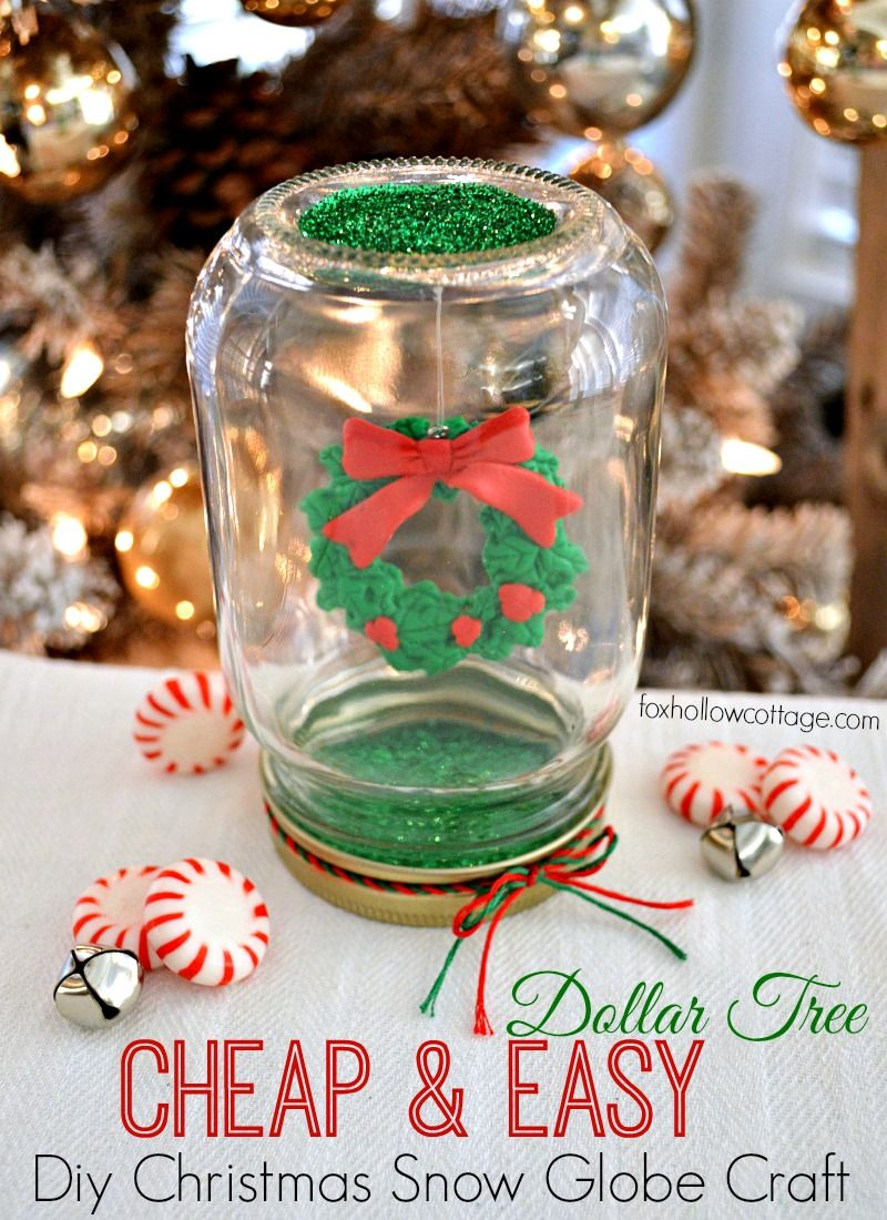make a dollar tree mason jar christmas snow globe globe