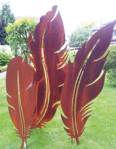 Gartendeko Metall gartendekoration rost feder 1 zierelemente dekoschmiede