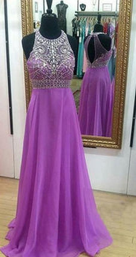Crystal Detailing A-line Chiffon Prom Dresses