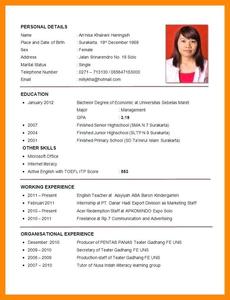 Fresh Graduate Cv Sample Exemple Cv Etudiant Riwayat Hidup Resume Guru Resume Keren