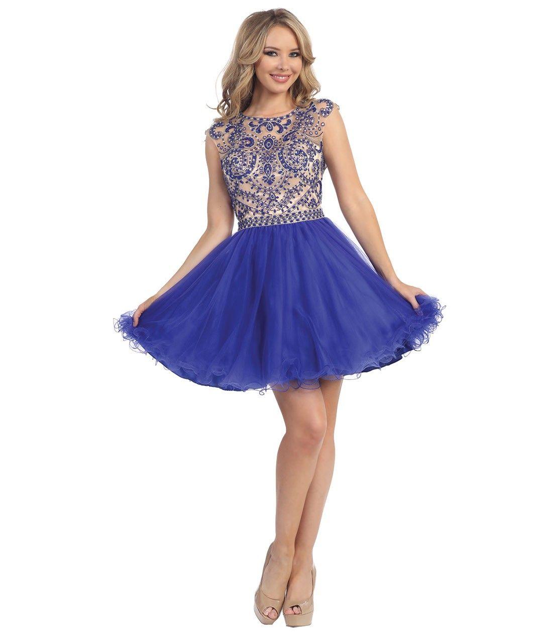 Royal Blue & Nude Sheer Embellished Open Back Beaded Dress | Gala ...