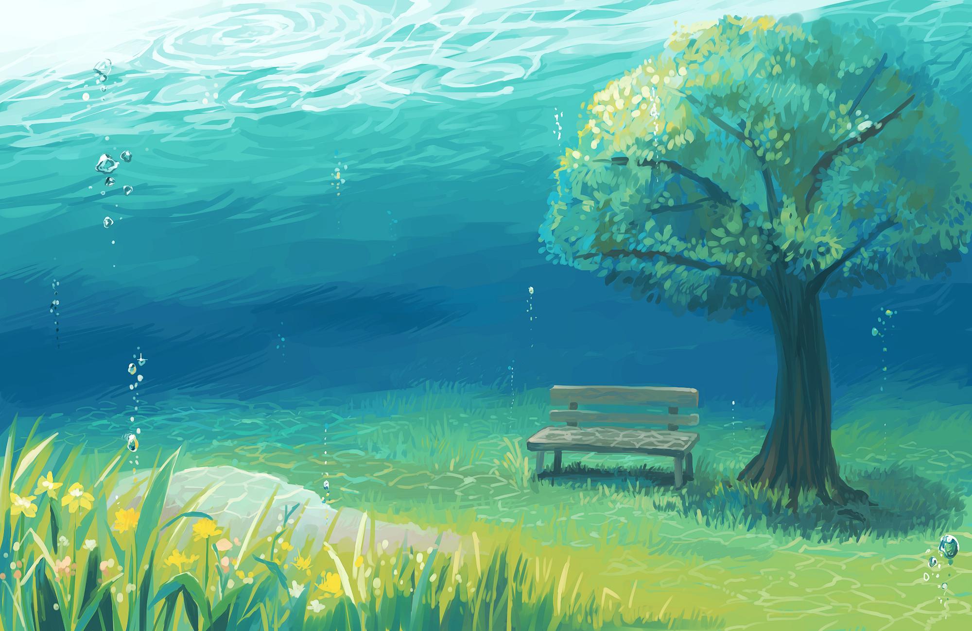 Anime Landscape Underwater Tree Grass Anime Nature Desktop Wallpaper Anime Wallpaper Scenery Wallpaper