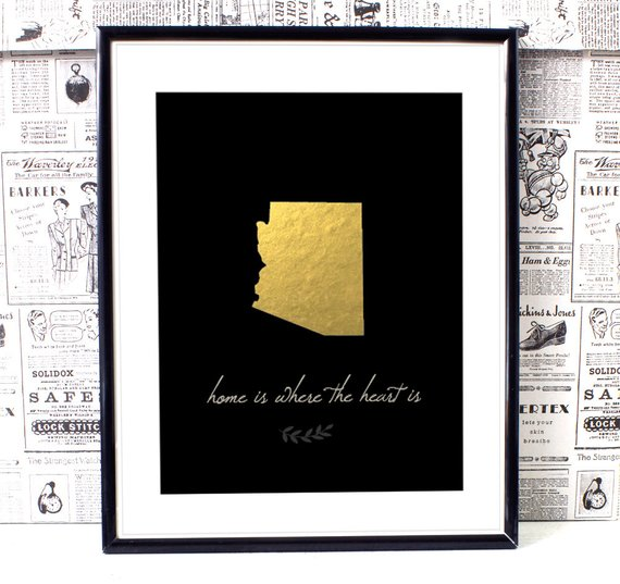 Arizona Map,Personalized Map Art,Home is Where the Heart Is