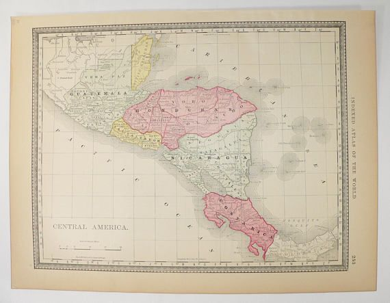 Old Central America Map Rand McNally Map Central America - Nicaragua map honduras