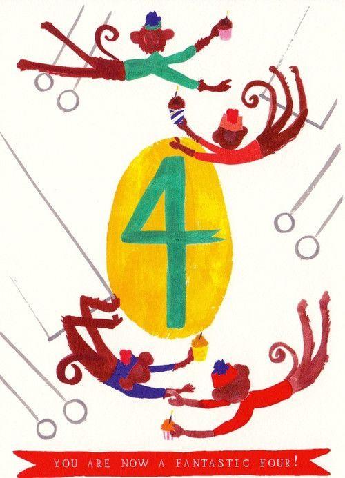 Mischievous Monkies 4th Birthday Kids Card