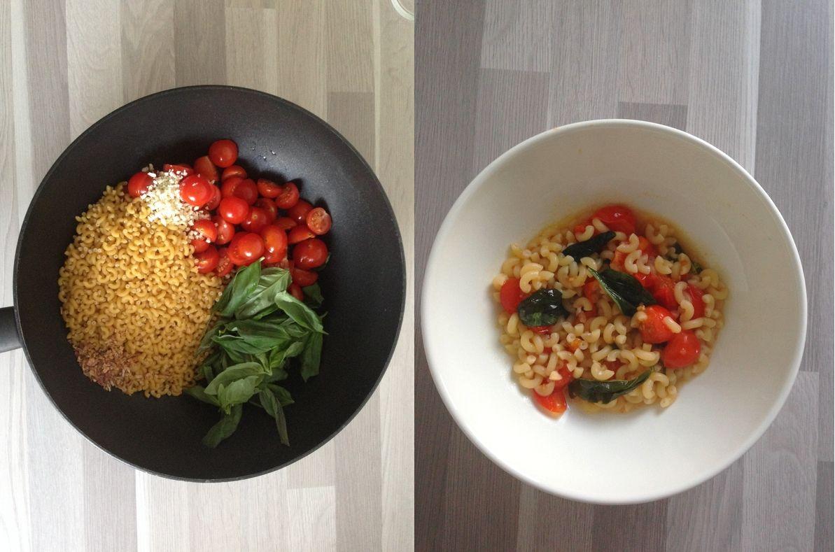 pates basilic tomates