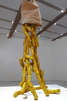Claes Oldenburg's 'Shoestring Potatoes Spilling from a Bag' (1966), pictured here, in Vienna.