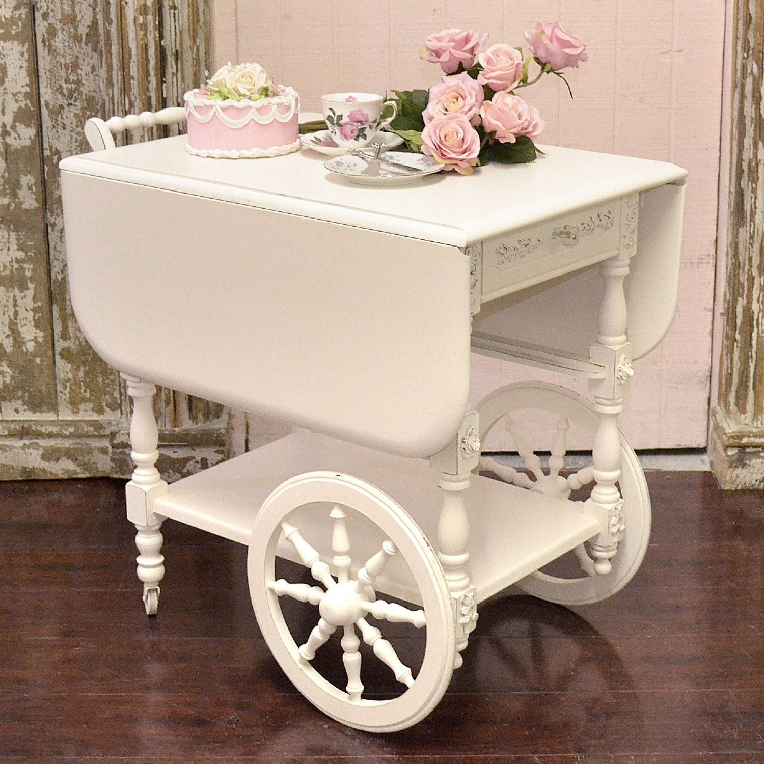 Darling White Shabby Chic Teacart
