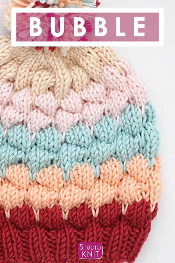 Bubble Stitch Beanie Hat Knitting Pattern by Studio Knit.