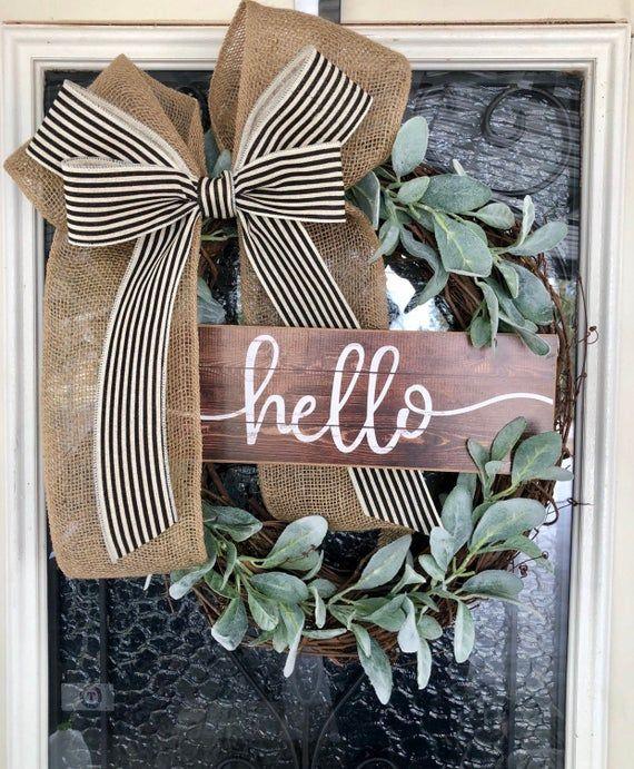 Photo of Farmhouse Wreath-Grapevine Wreath-Front Door Decor- Wreath with Lamb Ears- Farmhouse- Every Day Wreath- Year Round Wreath- Front door Wreath