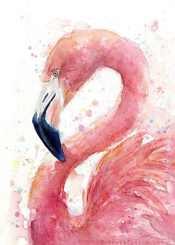 pink flamingo watercolor painting art print giclee bird animal wall