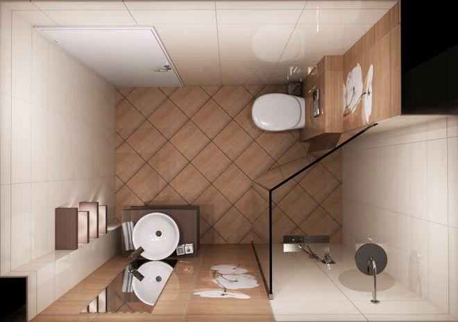 Rooms: Интериорен проект на баня 5 кв.м от Джесика