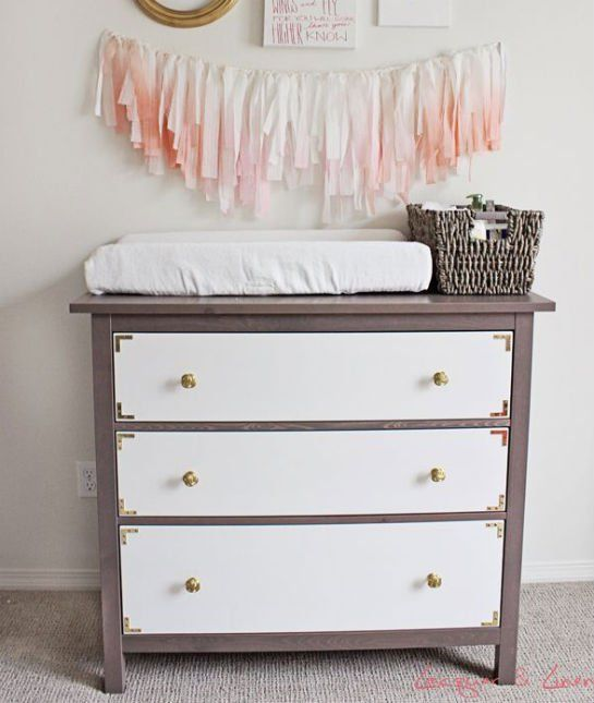 Dresser with different colored drawers and small corner for Small dresser drawers