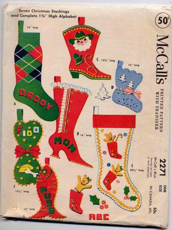 9e0e7956d Vintage 1958 McCall s Felt Christmas Stocking Pattern--UNCUT--Super ...