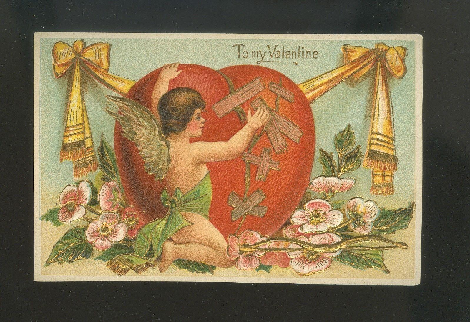 Beautiful c1912 Valentine Postcard Cupid with Big Heart | eBay