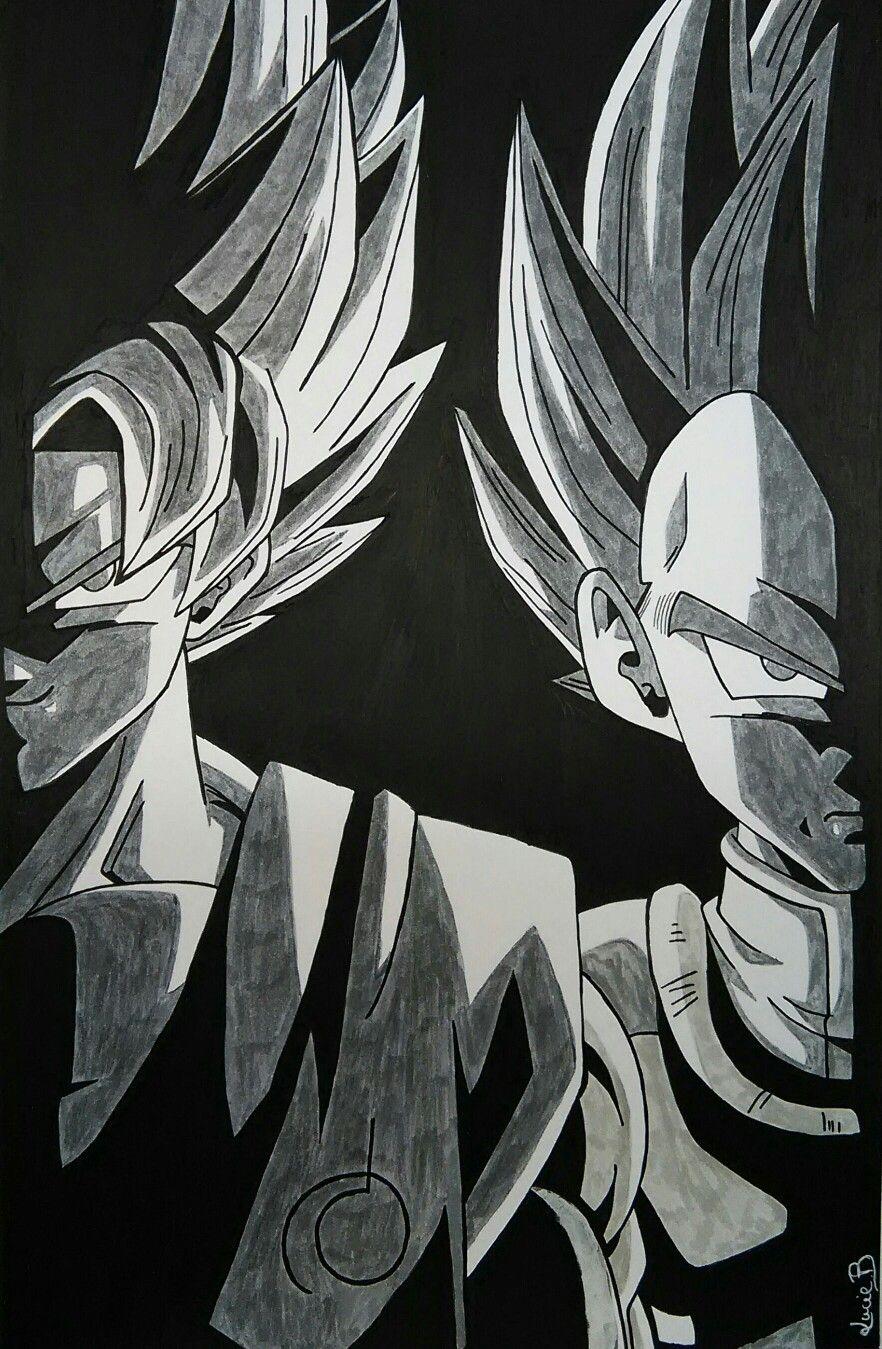 Dessin De Sangoku Et Vegeta Posca Noir Feutres Graphit
