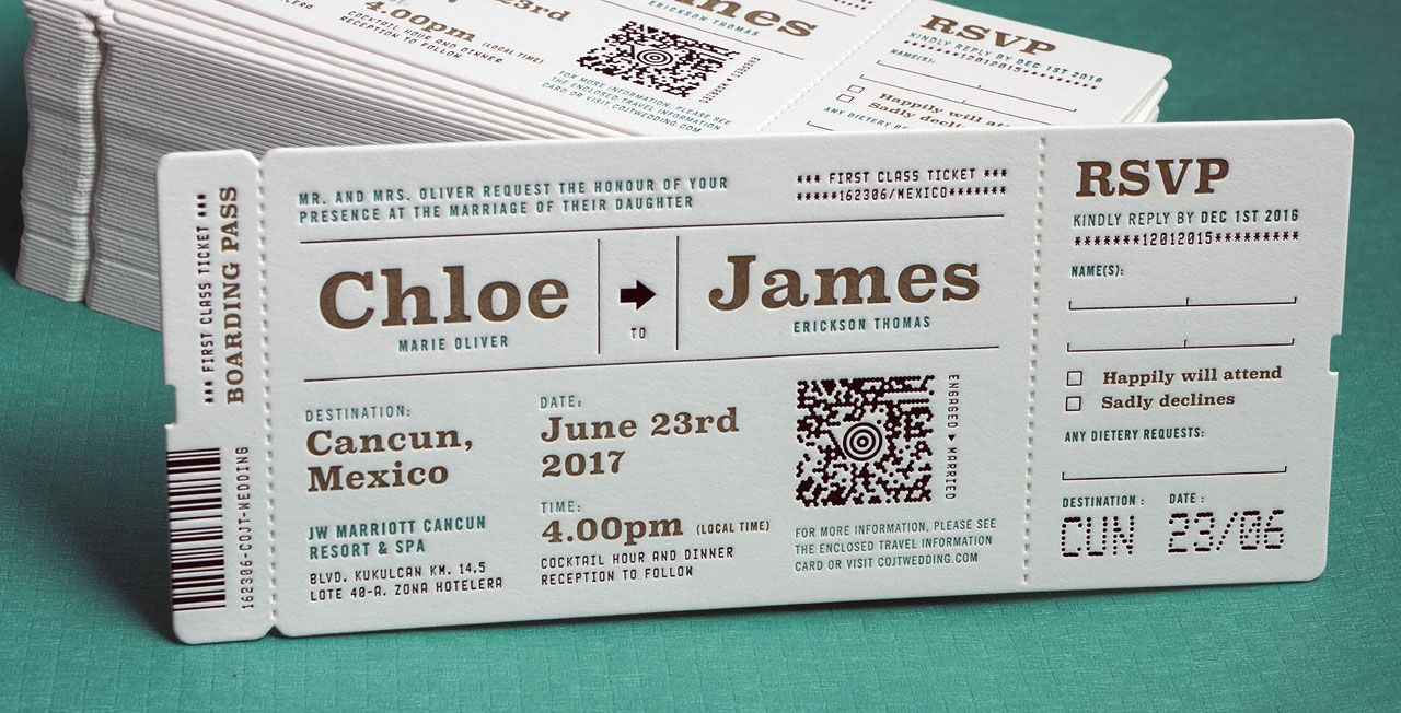Wedding Invitations - Letterpress Wedding Invites from Jukebox Print ...