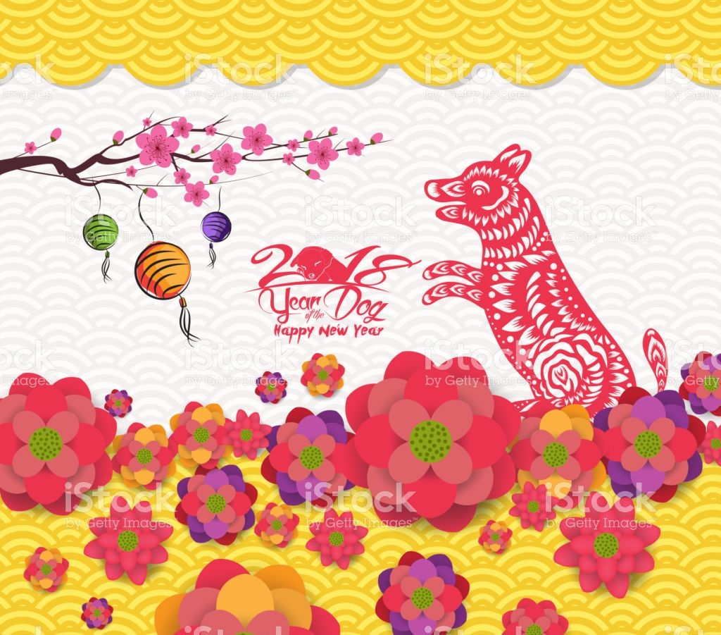 2018 Chinese New Year Greeting Card With Traditionlal Blooming