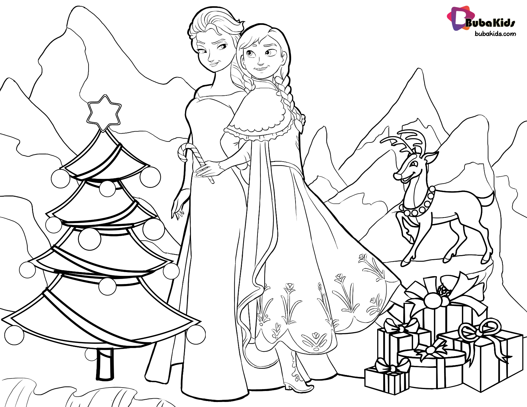 Frozen Queen Elsa And Princess Anna Christmas Coloring Page Free Download And Printabl Princess Coloring Pages Christmas Coloring Pages Mermaid Coloring Pages