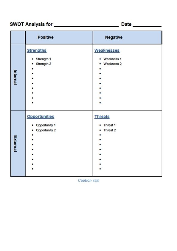 SWOT Analysis Template Word | SWOT Template Word