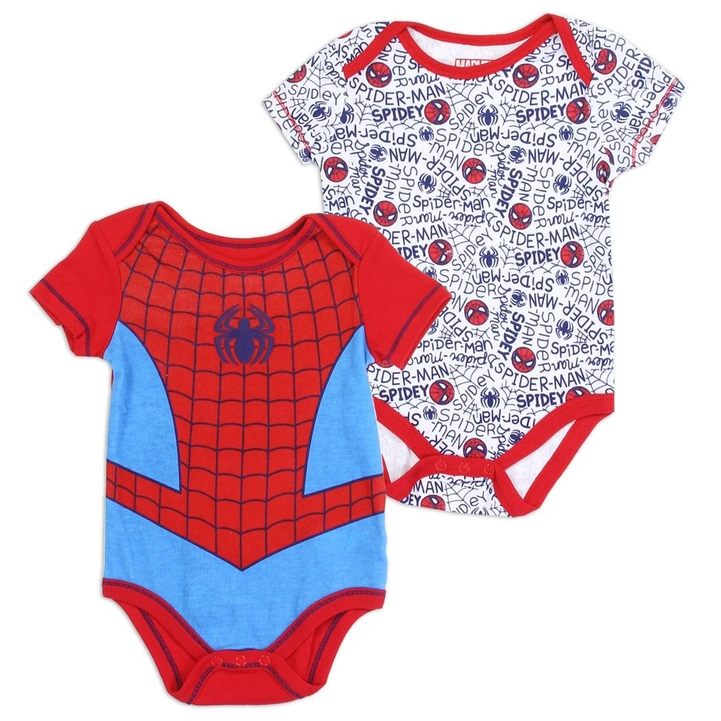 Spider-man Marvel *2 PACK* Boys Infant Multiple Sizes One Piece Body Suit