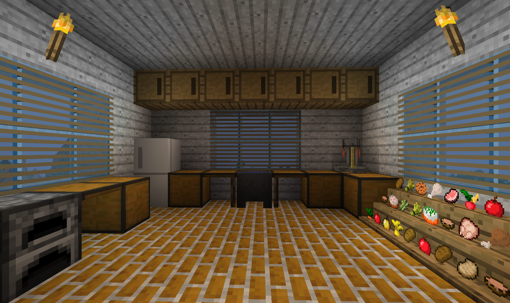 Minecraft kitchen only will use item frames for the food for Kitchen ideas minecraft